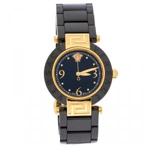 Versace Black Gold Plated Steel Ceramic Reve 92Q Women's Wristwatch 35 mm