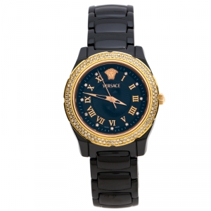 Versace Black Ceramic Rose Gold Stainless Steel Diamonds DV One Glamour 63Q Men's Wristwatch 34 mm