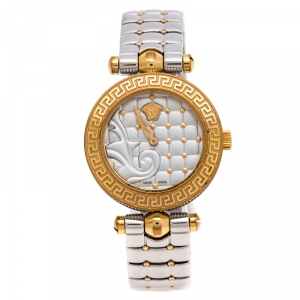 Versace Quilted Silver Two-Tone Stainless Steel Micro Vanitas VQM Women's Wristwatch 30 mm