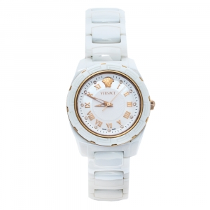 Versace White Mother of Pearl White Ceramic Rose Gold Plated Stainless Steel DV One 63Q Women's Wristwatch 35 mm