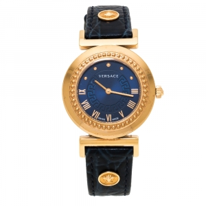 Versace Blue Gold Plated Stainless Steel Vanity P5Q Quartz Women's Wristwatch 35MM