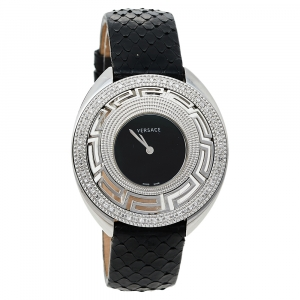 Versace Black Stainless Steel Python Leather Diamonds Destiny 67Q Women's Wristwatch 39 mm