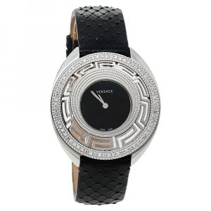 Versace Black Stainless Steel Python Leather Diamonds Destiny 67Q Women's Wristwatch 39 mm