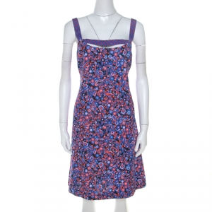 Versus Versace Multicolor Textured Cotton Abstract Printed Dress M