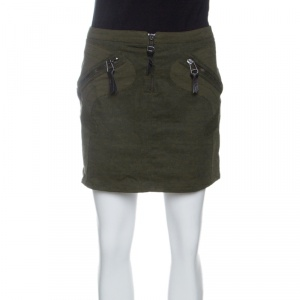 Versus Versace Vintage Olive Green Zip Detail Mini Skirt M