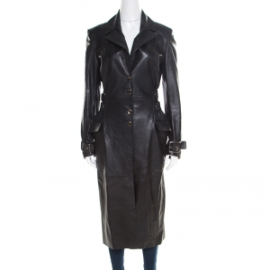 Versus Versace Black Leather Belted Back Detail Overcoat S