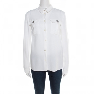 Versus Versace White Crepe Medusa Button Detail Long Sleeve Blouse M - used