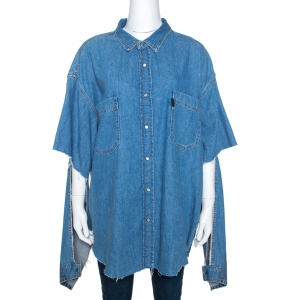 Vetements x Levi's Blue Denim Cutout Sleeves Oversized Shirt S