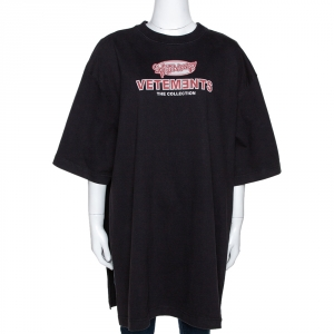 Vetements Black Printed Cotton Split Side Oversized T-Shirt XS