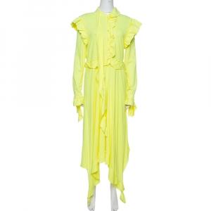 فستان فيتمونت جيرسيه أصفر نيون بكشكشة مقاس متوسط - ميديوم