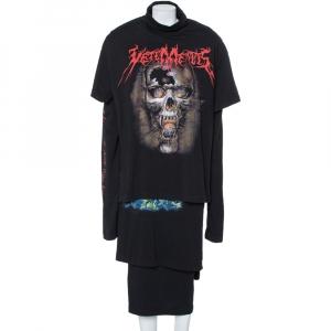 Vetements Black Skull Printed Cotton Layered Oversized T-Shirt Dress S