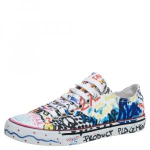 Vetements White Canvas Graffiti Sneakers Size 36