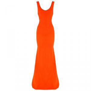 Victoria Beckham Tangerine Back Zipper Detail Gown L
