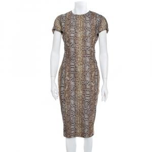 Victoria Beckham Brown Snake Printed Cotton Jacquard Sheath Dress M