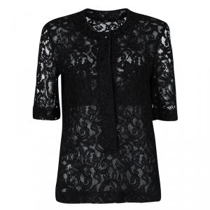 Victoria Beckham Black Lace Pocket Detail Sheer Short Sleeve Blouse XS
