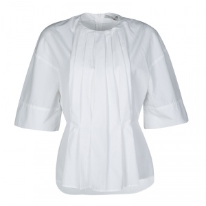 Victoria Beckham White Cotton Pleat Detail Peplum Top M