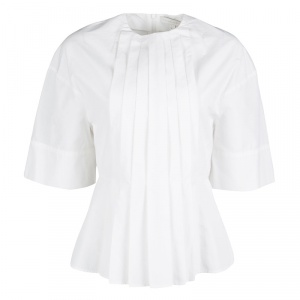 Victoria Beckham White Cotton Pleat Detail Peplum Top S