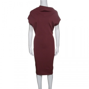 Victoria Beckham Burgundy Knit Draped High Neck Bodycon Dress S