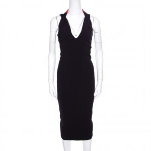 Victoria Beckham Navy Blue Contrast Trim Plunge Neck Halter Dress M - used