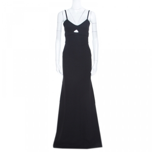 Victoria Beckham Black Double Crepe Cutout Detail Sleeveless Maxi Dress S - used