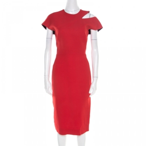 Victoria Beckham Red Wool and Silk Cutout Shoulder Detail Sleeveless Dress M