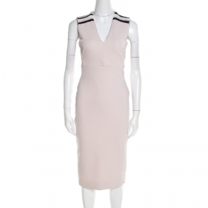 Victoria Beckham Blush Pink Striped Shoulder V-Neck Sleeveless Pencil Dress M