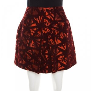 Victoria Beckham Orange and Burgundy Velvet Burnout Mini Skirt M