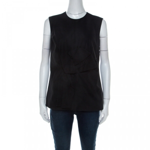 Victoria Beckham Black Cotton Blend Bow Detail Sleeveless Top M