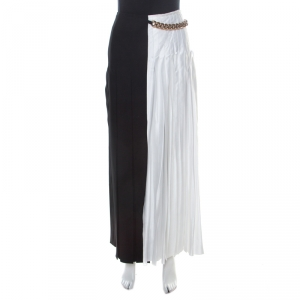 Victoria Beckham Bicolor Pleated Satin Chain Detail Gazar Maxi Skirt M