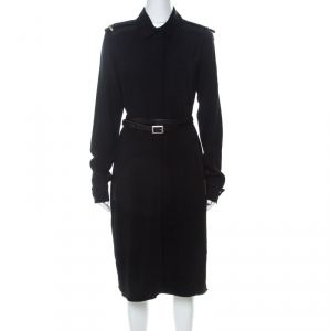 Victoria Beckham Black Crepe Knit Epaulette Detail Belted Shirt Dress L