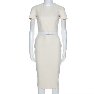 Victoria Beckham Cream Silk Wool Blend Belted Sheath Dress S used