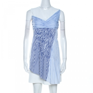 Victoria Victoria Beckham White Paneled Cotton Overlay Mini Dress S - used