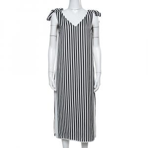 Victoria Beckham White/Black Stripe Silk Knotted Twill Midi Dress M - used
