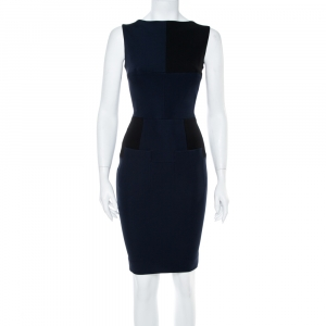 Victoria Beckham Navy Blue Paneled Jersey Fitted Dress S - used