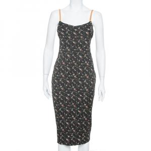Victoria Beckham Black Floral Print Textured Leather Strap Detail Sheath Dress M - used