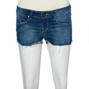 Victoria Beckham Blue Denim Frayed Hem Boyfriend Shorts S - used