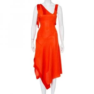Victoria Beckham Orange Mesh Knit Ruffle Detail Asymmetric Hem Midi Dress S - used