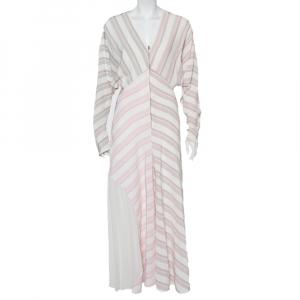 Victoria Beckham White Striped Silk & Chiffon Paneled Maxi Dress M - used