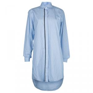 Victoria Beckham Blue Striped Long Sleeve Buttondown Shirt Dress S