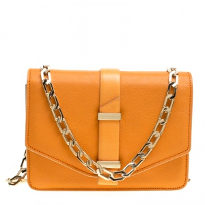 Victoria Beckham Orange Leather Mini Chain Shoulder Bag