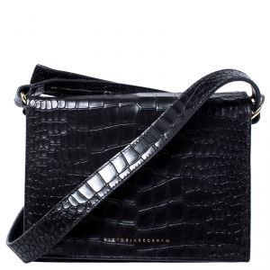 Victoria Beckham Black Croc Embossed Leather Mini Shoulder Bag