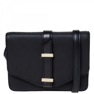 Victoria Beckham Black Leather Buckle Flap Crossbody Bag