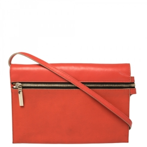 Victoria Beckham Coral Orange Leather Zipped Flap Shoulder Bag