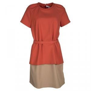 Victoria Victoria Beckham Colorblock Belted Short Sleeve Dress M