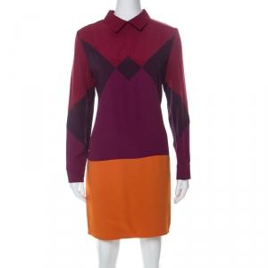 Victoria Victoria Beckham Multicolor Crepe Colorblock Harlequin Dress L