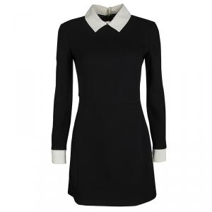 Victoria Victoria Beckham Black Contrast Collar Wool Dress S