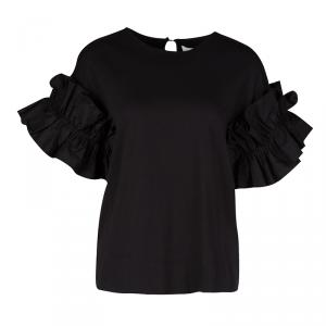 Victoria Victoria Beckham Black Cotton Ruffled Sleeve Top XS