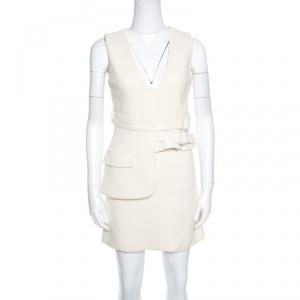 Victoria Victoria Beckham Cream Wool V-Neck Belted Sleeveless Dress S - used