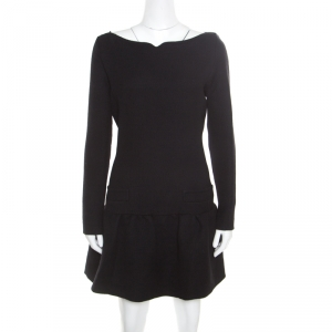 Victoria Victoria Beckham Black Textured Wool Drop Waist Dress M - used