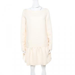 Victoria Victoria Beckham Soft Cream Summer Wool Flounce Dress L - used